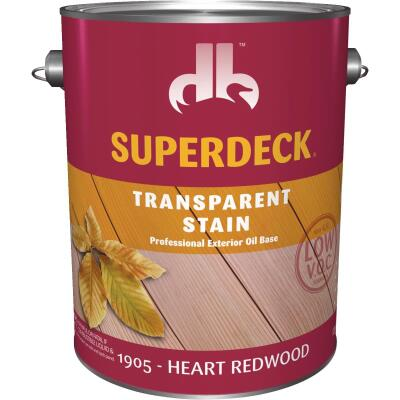 Duckback SUPERDECK VOC Transparent Exterior Stain, Heart Redwood, 1 Gal.